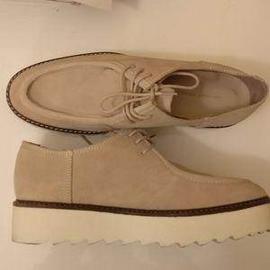 Zara Real Suede Platform Shoes Oxfords Beige - 39
